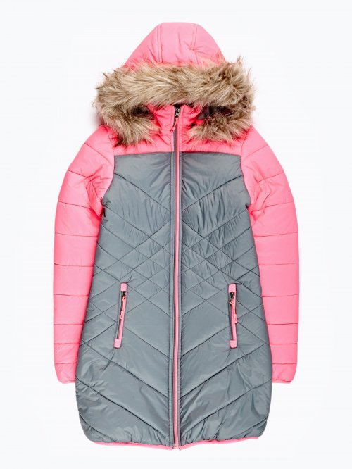 Prolonged quilted jacket with hood
