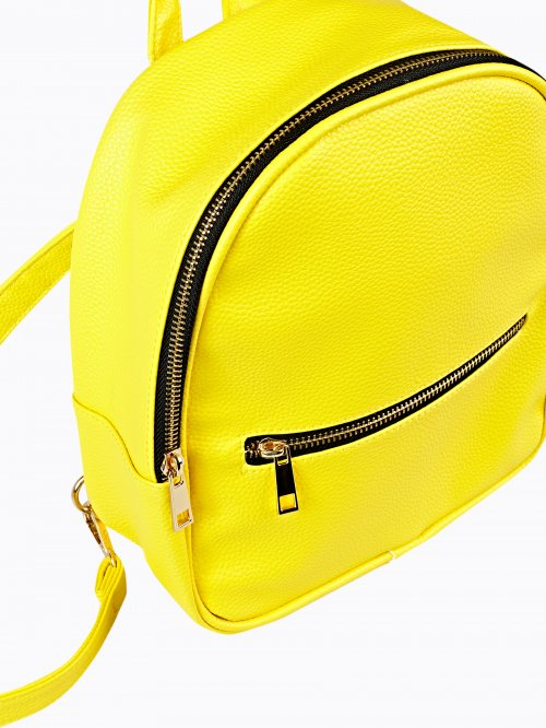 MINI FAUX LEATHER BACKPACK WITH CONTRAST ZIPPERS