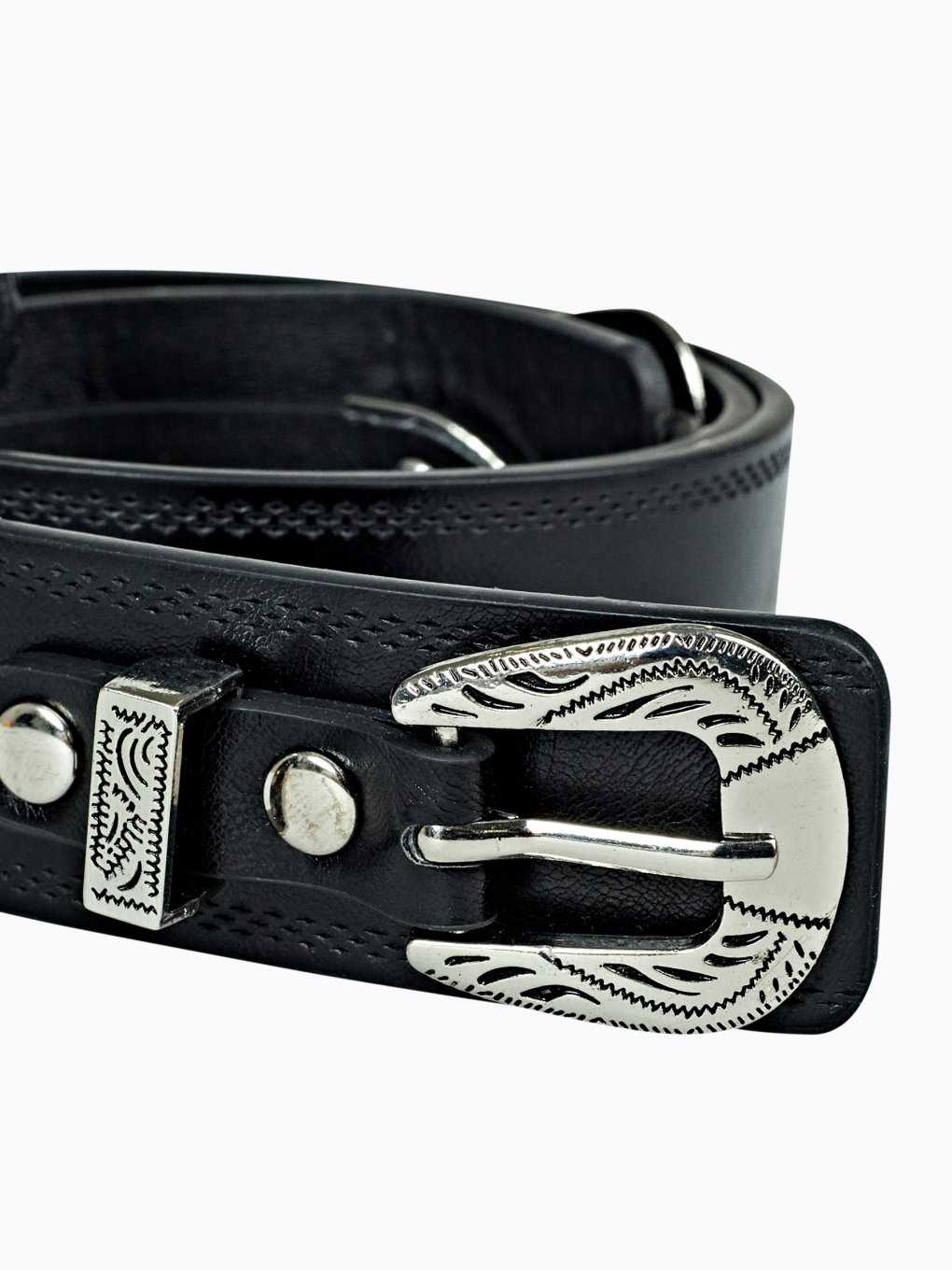 Faux leather belt with double buckle