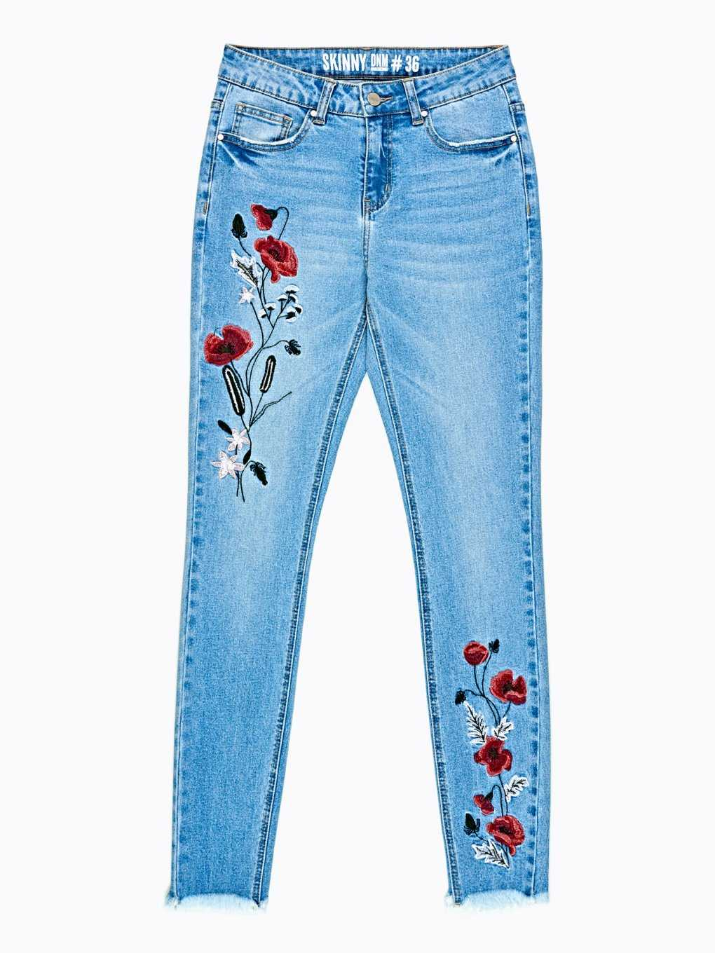 Skinny jeans with floral embroidery