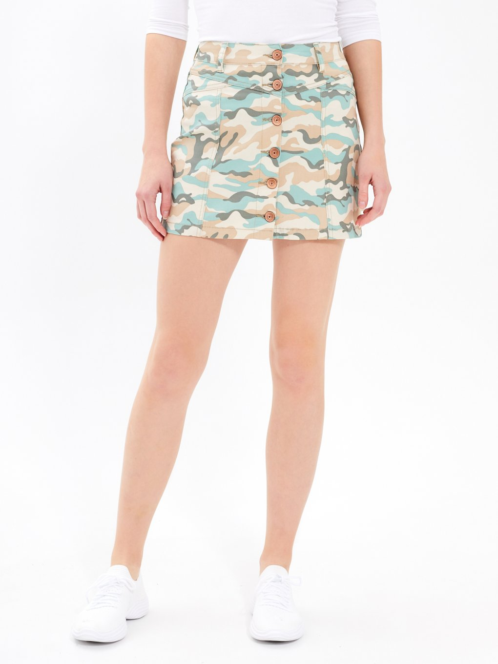 CAMO PRINT BUTTON-UP MINI SKIRT