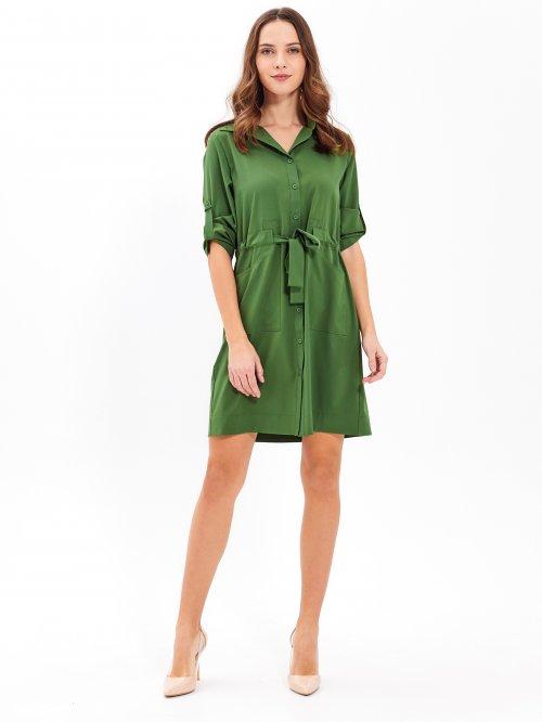 25e518971011 Košeľové šaty s opaskom
