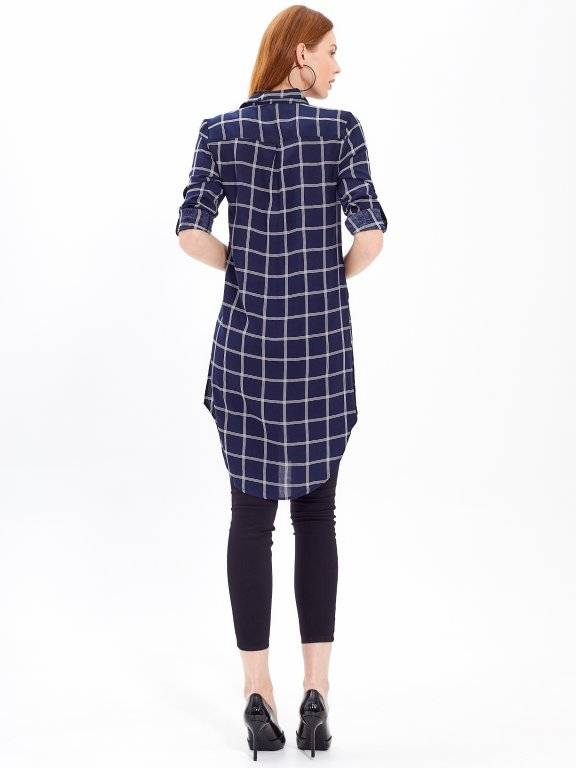 LONGLINE PLAID SHIRT