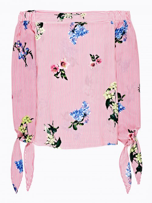 OFF-THE-SHOULDER FLORAL PRINT CROP TOP
