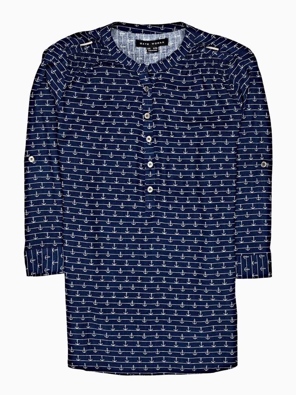 ANCHOR PRINT VISCOSE BLOUSE