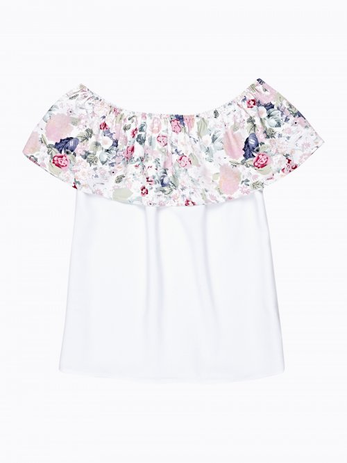 TOP WITH FLORAL PRINT RUFFLE