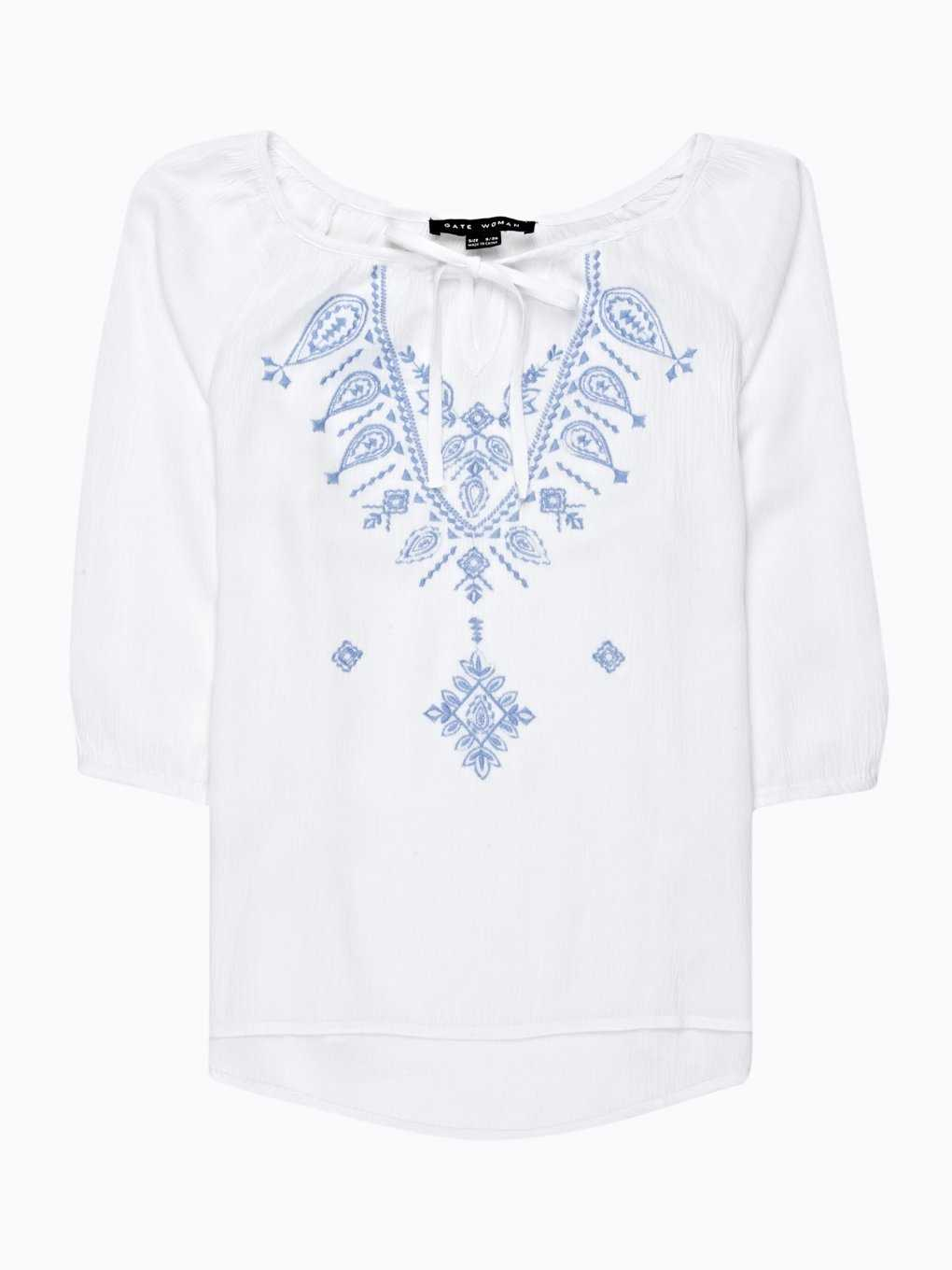 EMBROIDERED BLOUSE WITH FRONT LACING