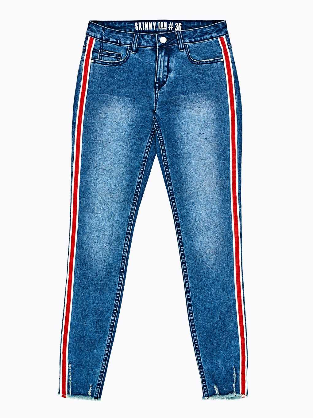 Taped skinny jeans in mid blue wash