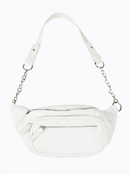 Faux leather bum bag with chain