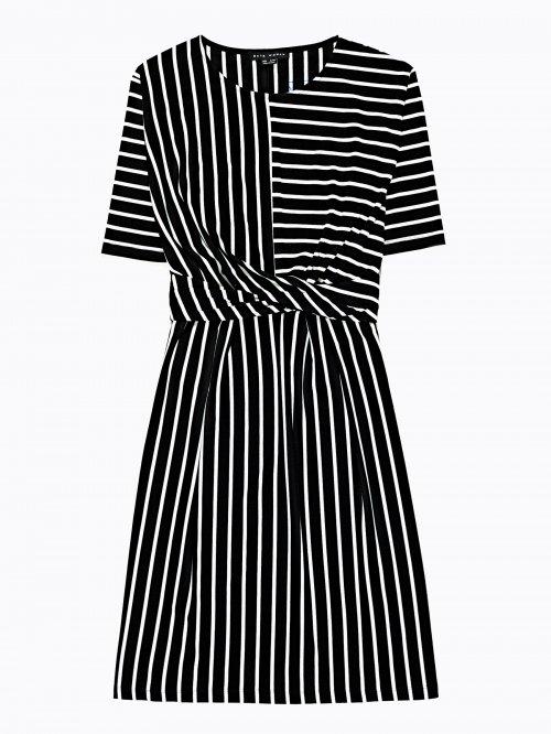 29d4bc1a1bd6 Prúžkované šaty s uzlom