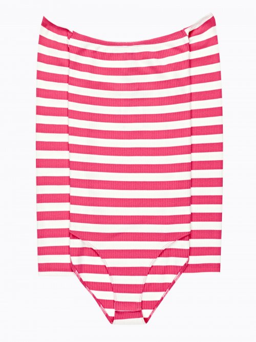 Off-the-shoulder striped bodysuit