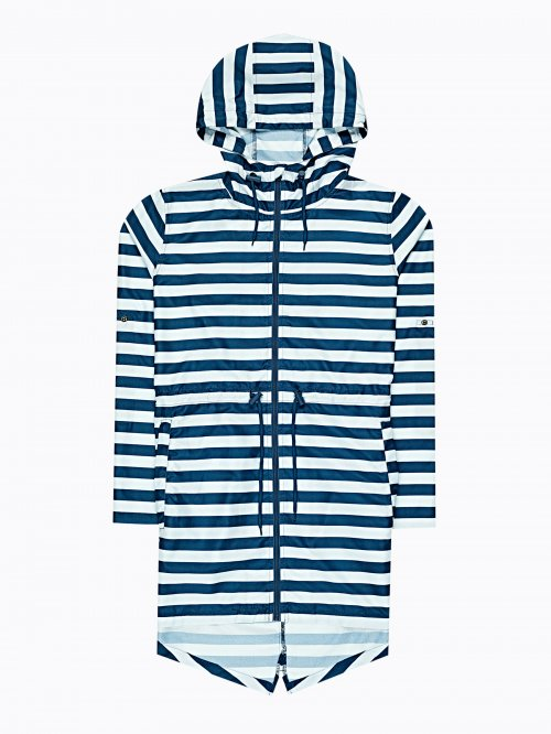 Striped parka from pocket