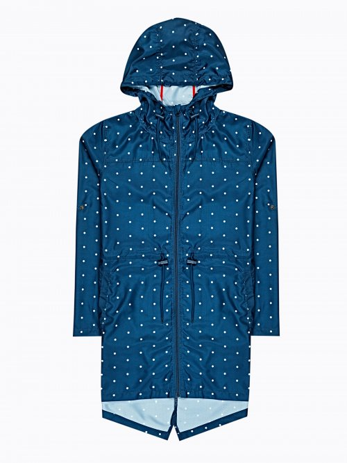 Polka-dot print parka from pocket