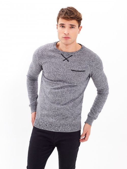 Marled jumper with chest pocket