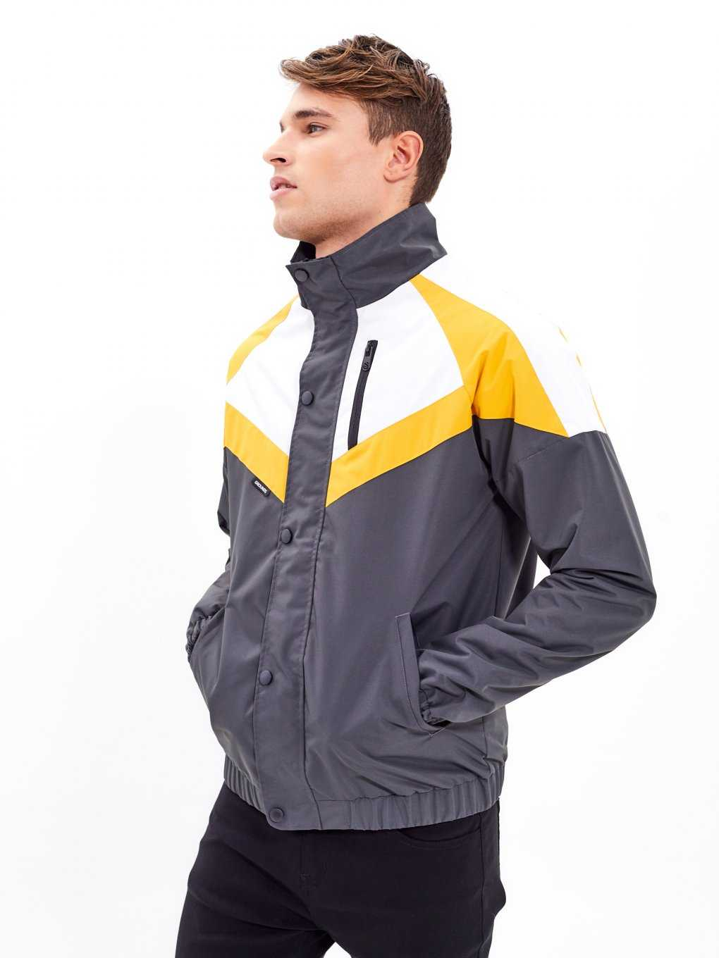 Paneled jacket with stand-up collar