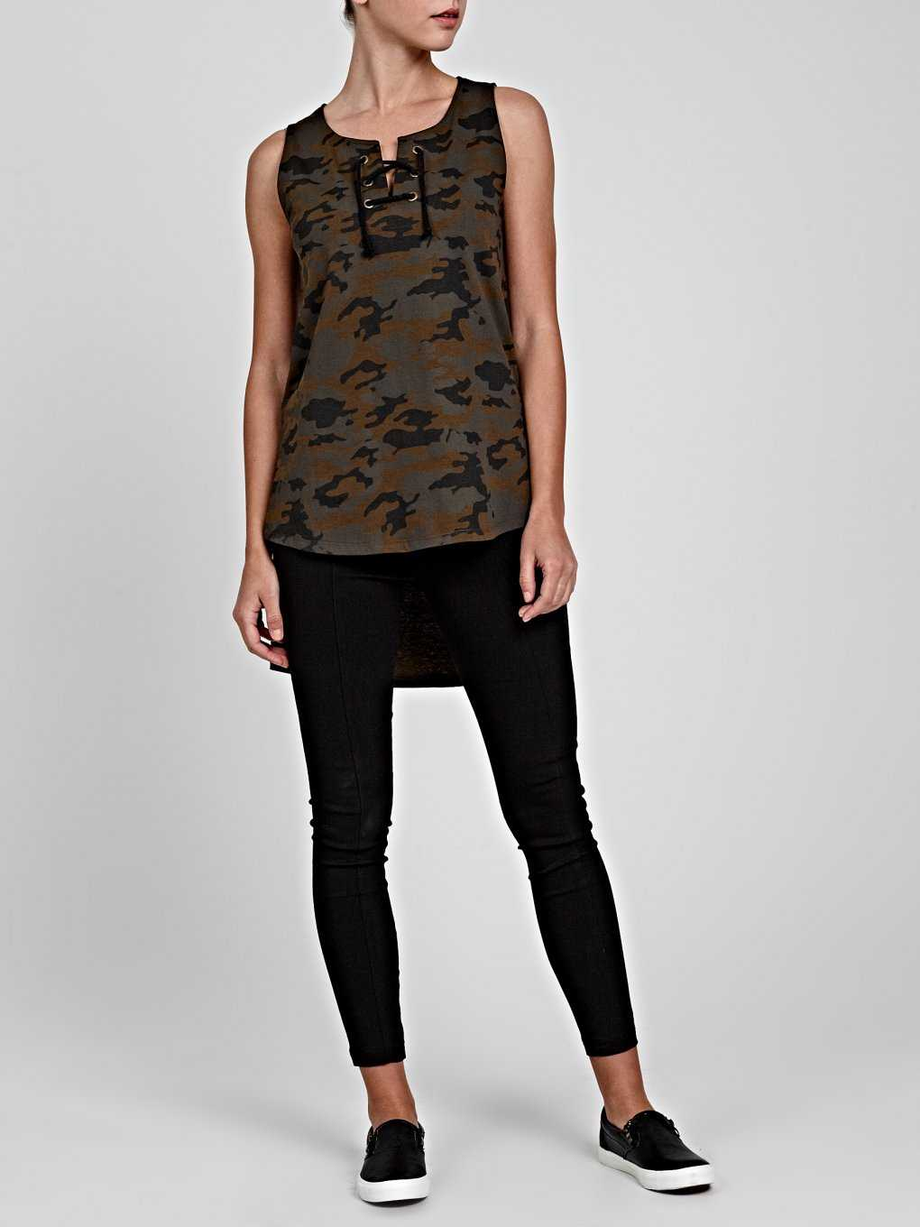 CAMOU PRINT TANK WITH FRONT LACING