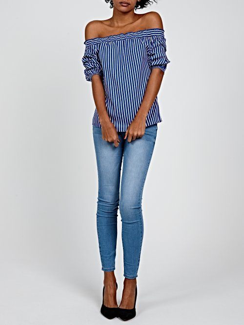 OFF-THE-SHOULDER STRIPED COTTON BLOUSE