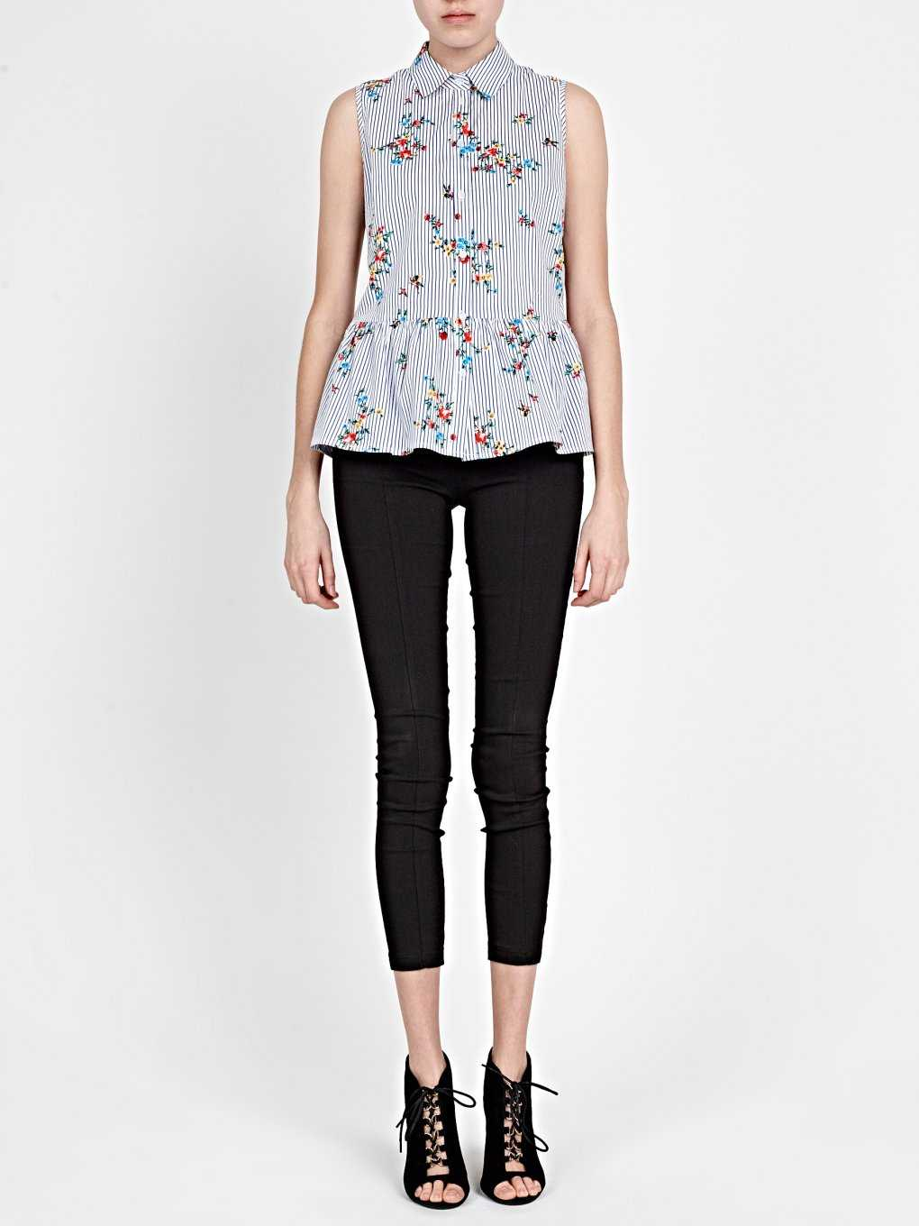 STRIPED PEPLUM TOP WITH FLOWER PRINT