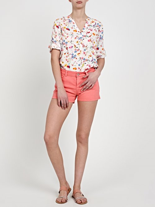 DENIM SHORTS WITH QUILTED DETAILS