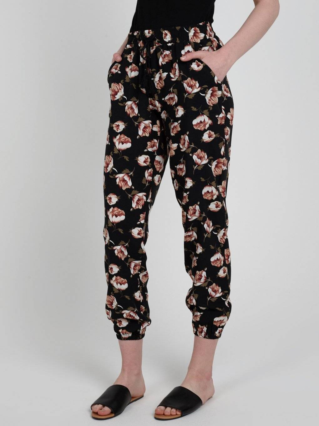 FLORAL PRINT VISCOSE TROUSERS