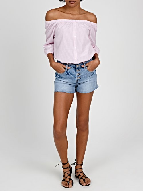 HIGH WAIST DAMAGED SHORTS IN LIGHT BLUE WASH