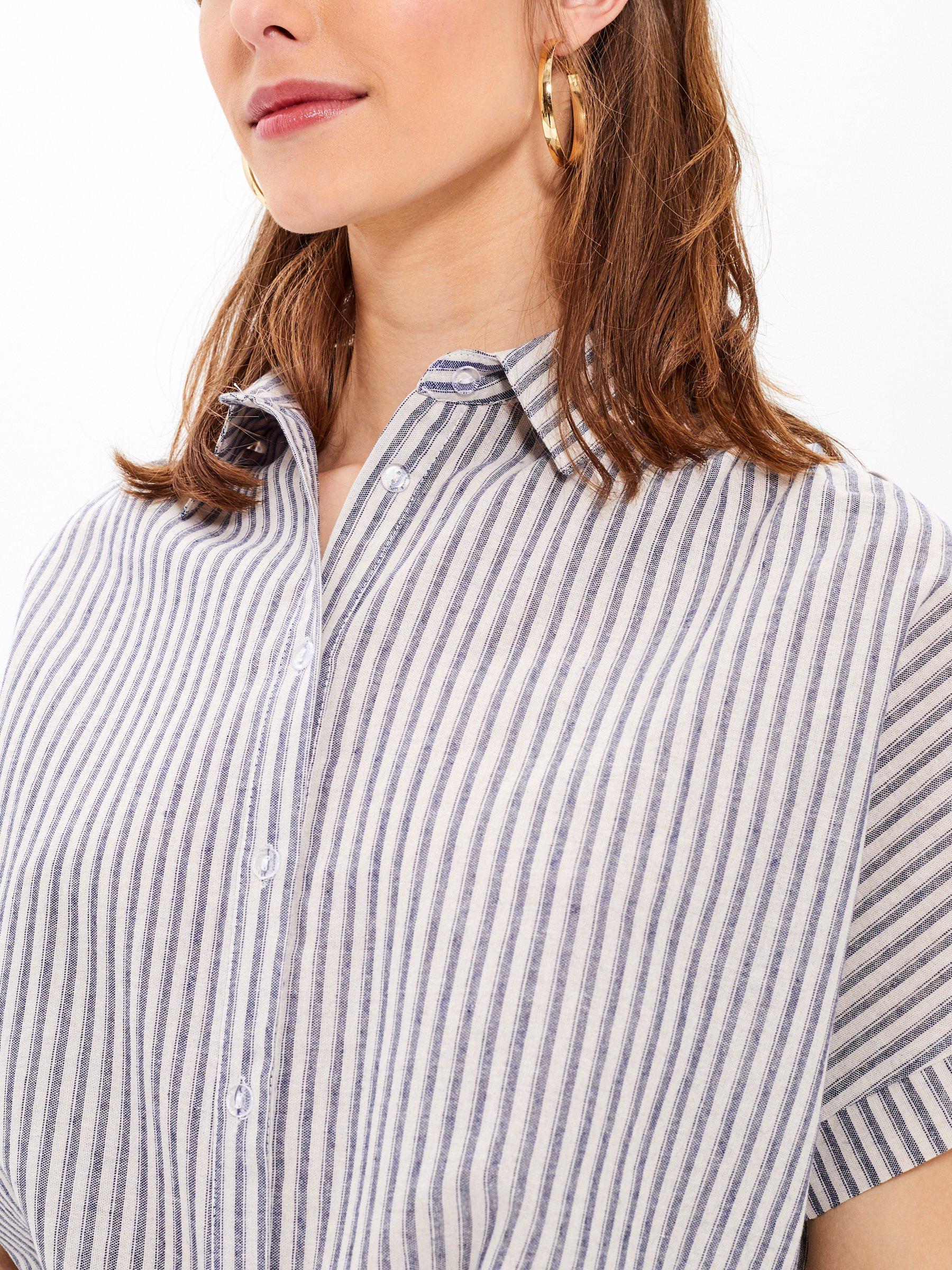 3,98 €, | Striped cotton oversized shirt