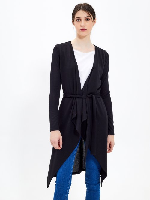 Longline cardigan with belt