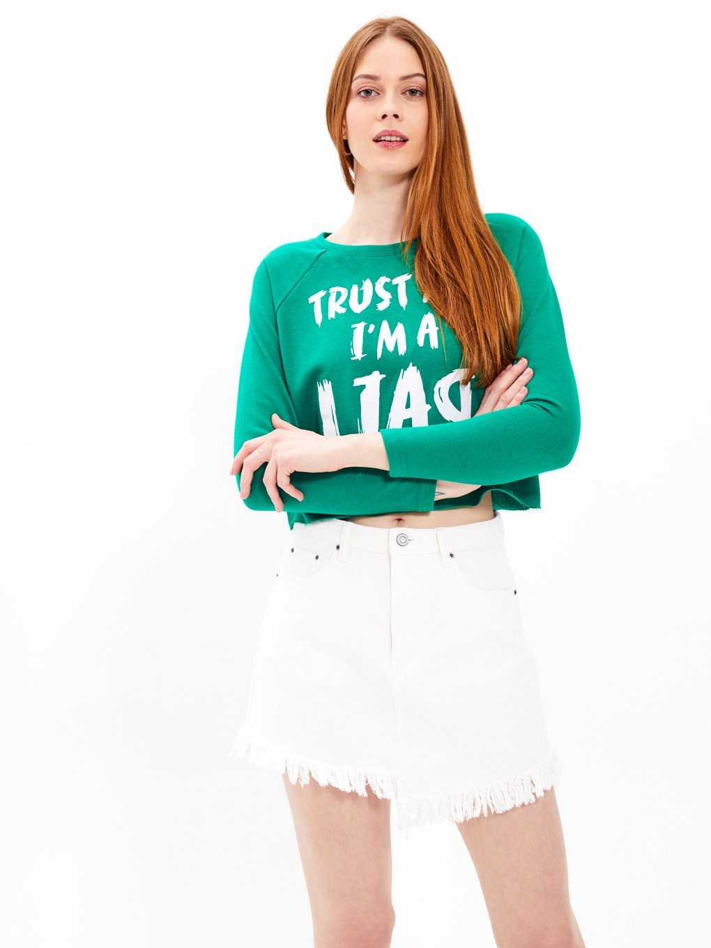 Crop top with message print