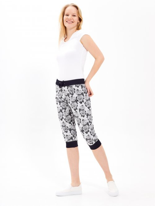 3/4 leg floral printed sweatpants