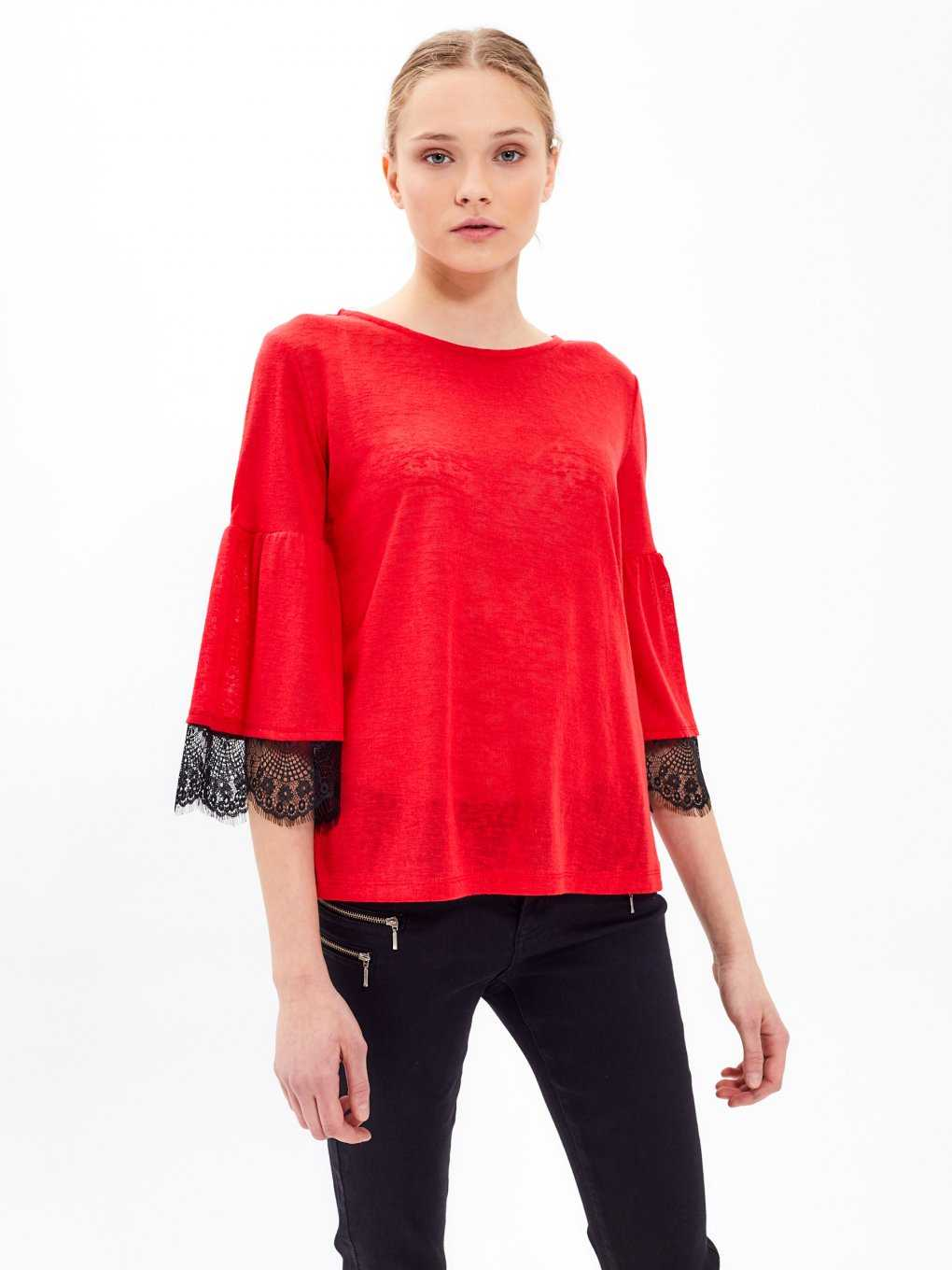 Marled top with lace