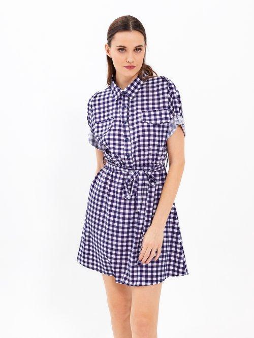 Kockované košeľové šaty s opaskom 45af7d95c3d
