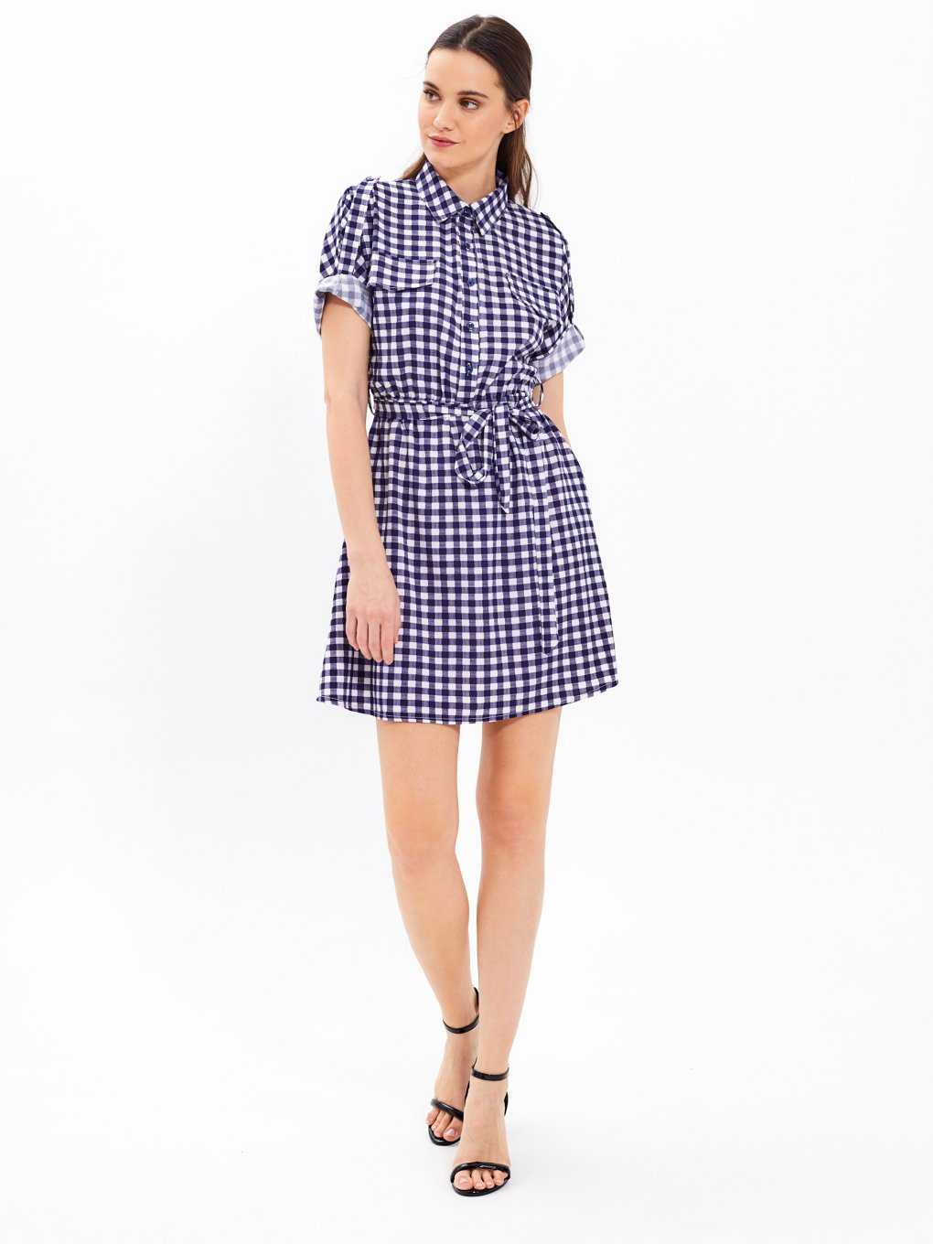 Gingham shirt dress