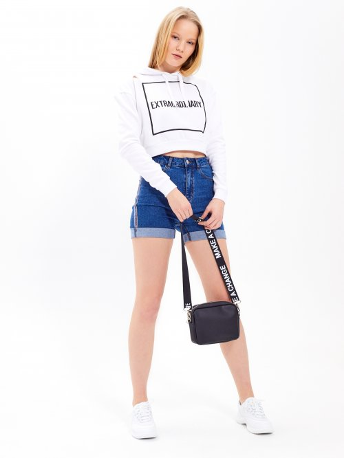 Taped high-waist denim shorts