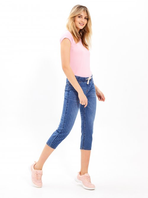Cropped jeans with stripes