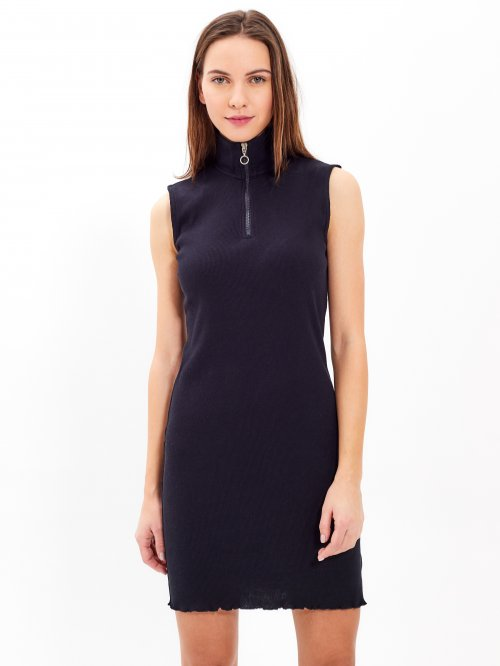 Žebrované šaty s vysokým límcem c6f970ee76