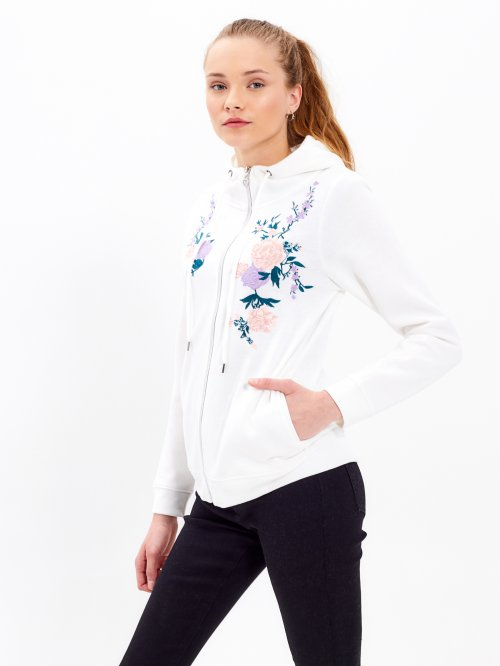 Zip-up hoodie with floral embroidery