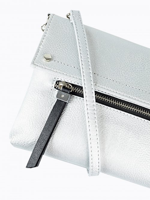Metallic faux leather messenger bag