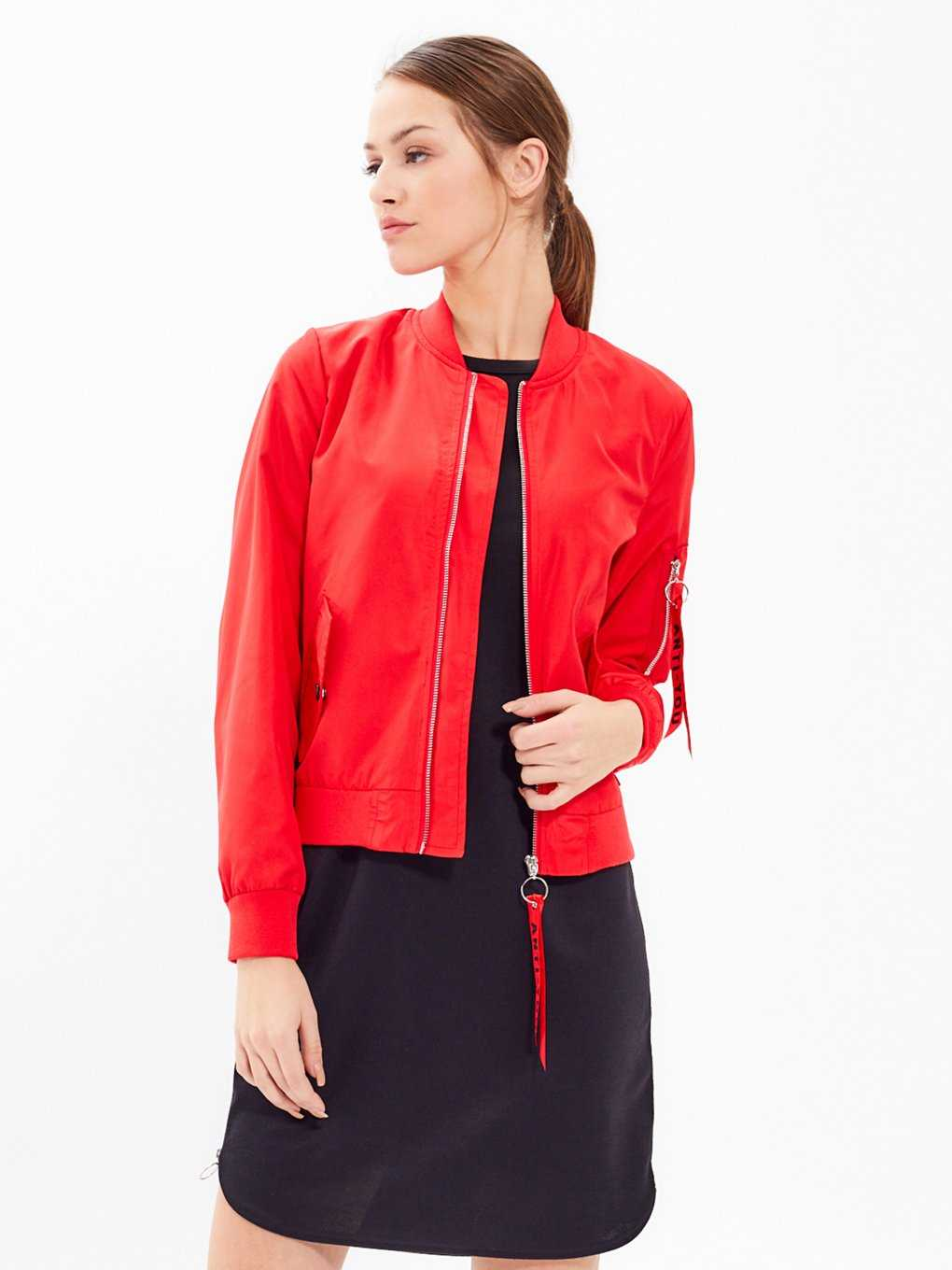 BOMBER JACKET WITH ZIPPER TAPE DETAIL