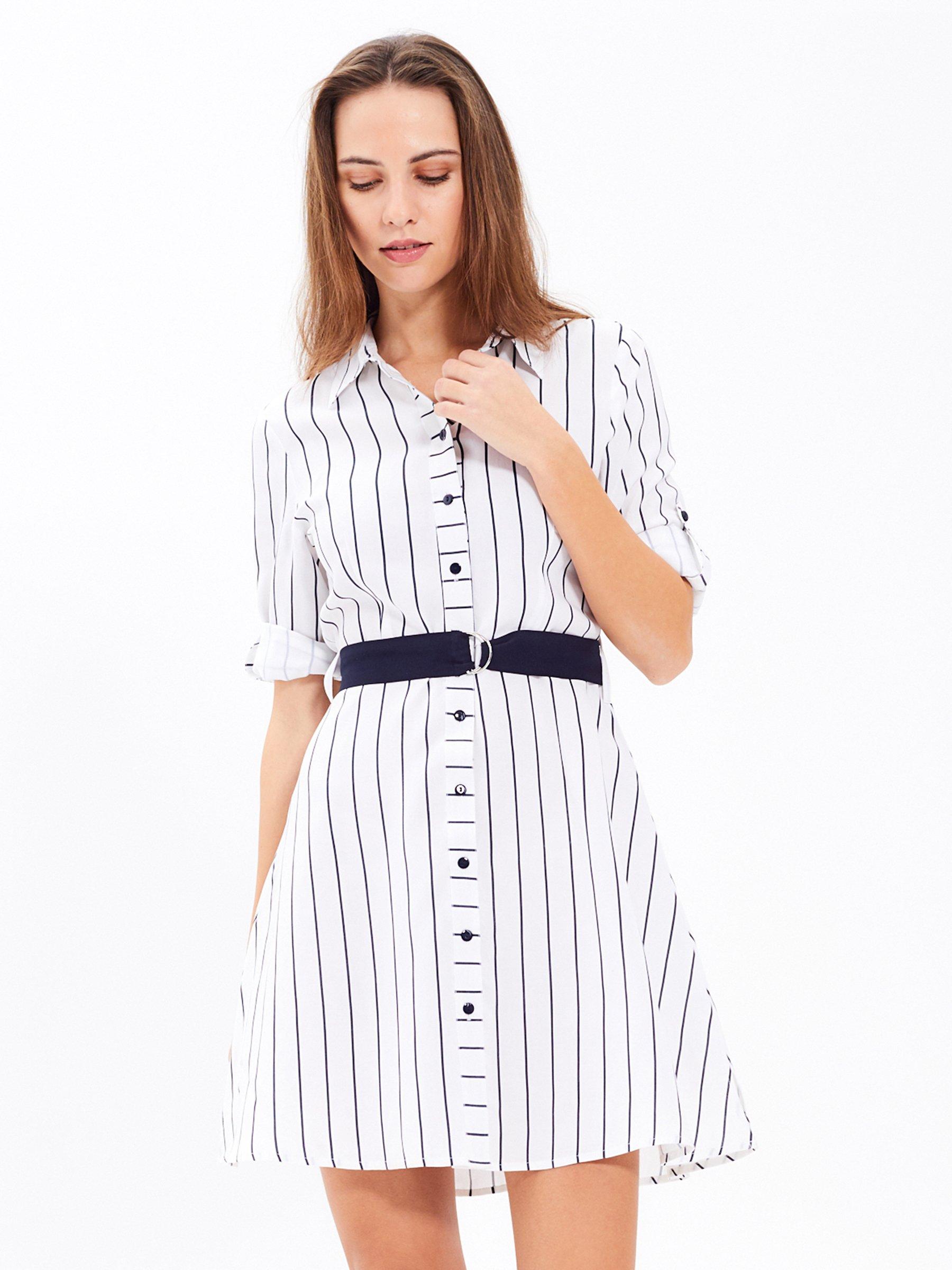 cdf3a7640bf0 Prúžkované košeľové šaty s opaskom