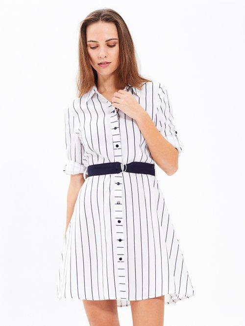 17ede934a351 Prúžkované košeľové šaty s opaskom