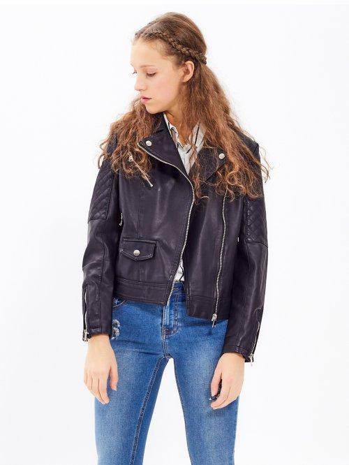 131174a0b76c Motorkárska bunda z imitácie kože