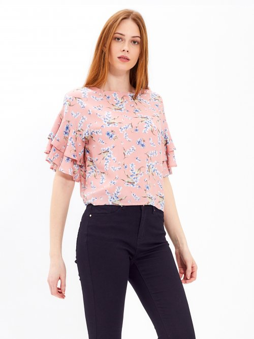 FLORAL PRINT BLOUSE WITH RUFFLE SLEEVE