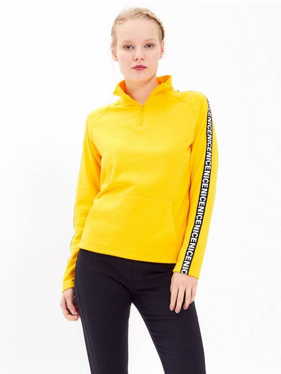 TAPED SWEATSHIRT WITH ZIPPER