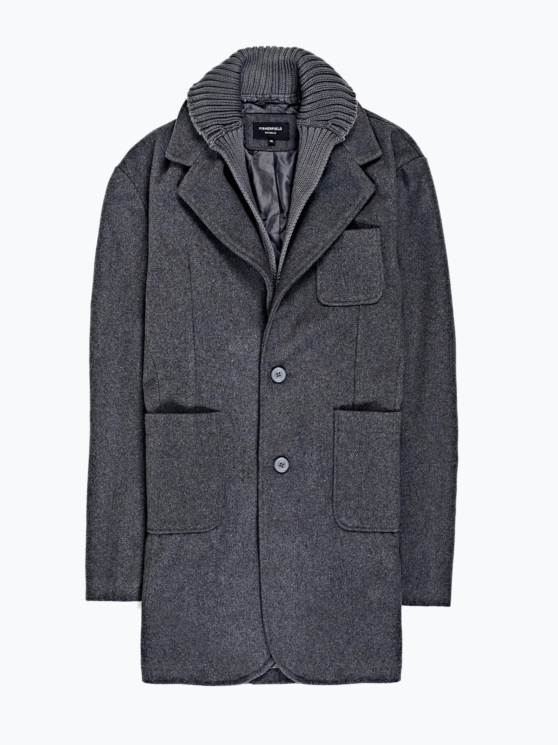 GATE Kombinovaný prodloužený kabát z vlněné směsi