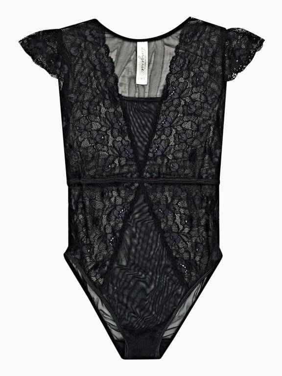 Mesh and lace teddy