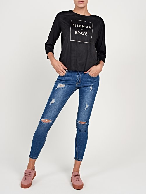 Faux suede t-shirt with metallic print