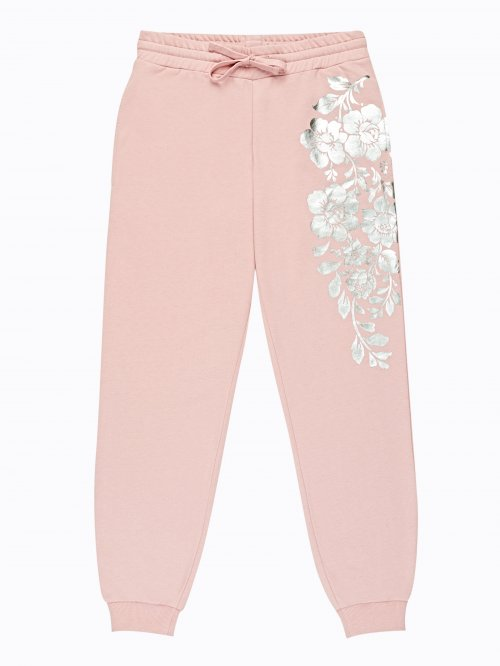 Sweatpants with metallic flower print