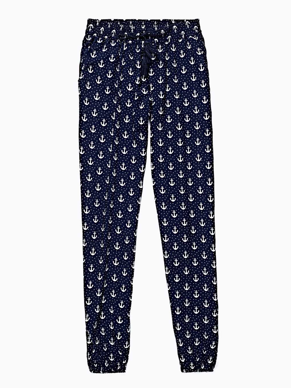 ANCHOR PRINT VISCOSE TROUSERS