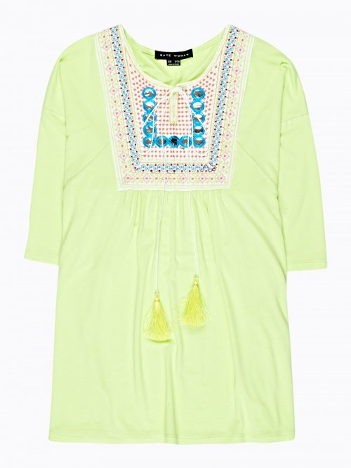 Embroidered knit tunic