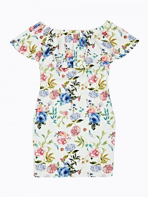 Floral print bodycon dress with ruffle